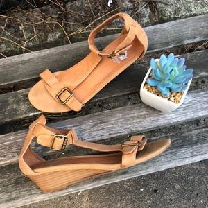 Tan Low Wedge Sandals size 7.5